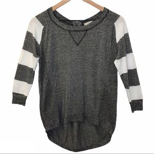 Altar'd State Ashley Sweater Top Grey and White